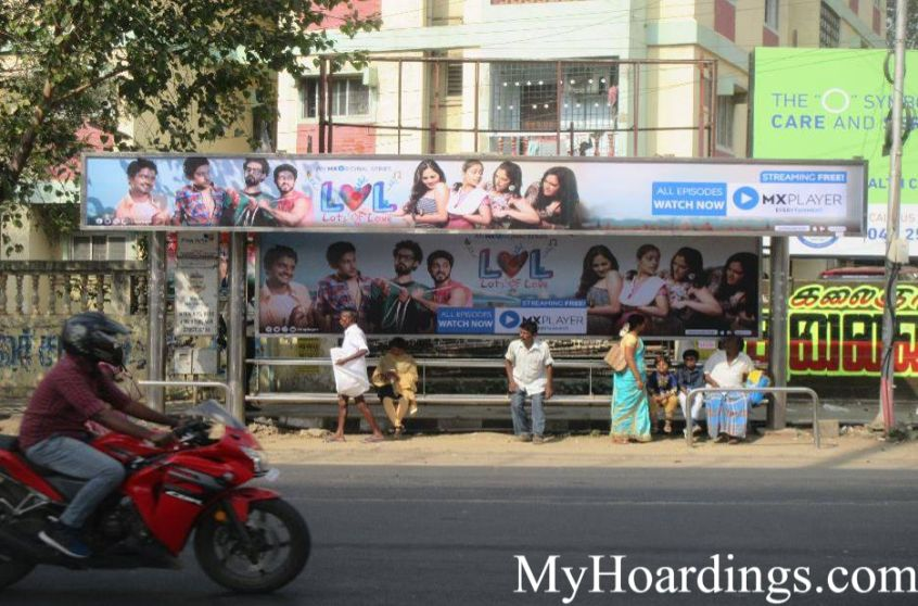 OOH Hoardings Agency in India, Bus Shelter Branding Company in League Club Bus Stop Chennai